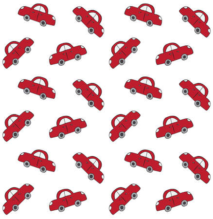 Vector seamless pattern of red hand drawn doodle sketch car isolated on white background