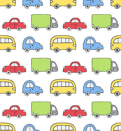 Vector seamless pattern of colored hand drawn doodle sketch car isolated on white background