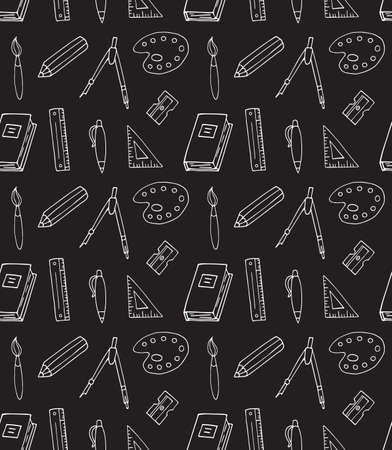 Vector seamless pattern of chalk hand drawn doodle sketch school office chancellery isolated on black background