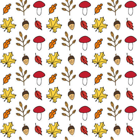 Vector seamless pattern of different colored hand drawn doodle sketch autumn leaves mushroom and acorn isolated on white background 矢量图像