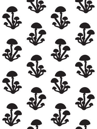 Vector seamless pattern of hand drawn honey mushroom silhouette isolated on white background Иллюстрация