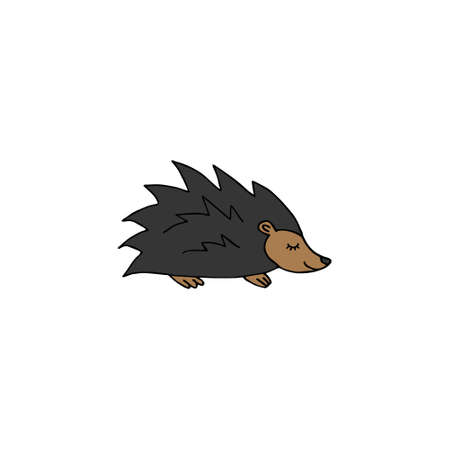 Vector hand drawn doodle sketch colored hedgehog isolated on white background