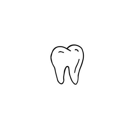 Vector hand drawn doodle sketch tooth isolated on white background Иллюстрация