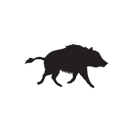 Vector hand drawn wild boar silhouette isolated on white background Иллюстрация