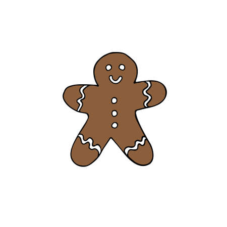 Vector hand drawn doodle sketch ginger colored cookie isolated on white background Иллюстрация