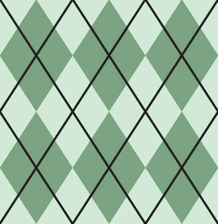 Vector seamless pattern of green flat cartoon Plaid check isolated on white background