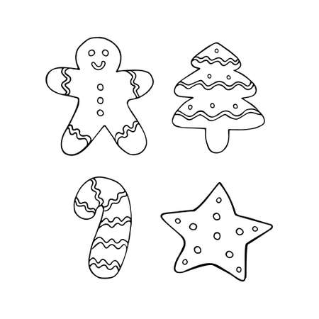 Vector set bundle of hand drawn doodle sketch ginger bread cookies isolated on white background