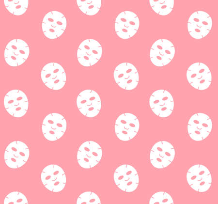 Vector seamless pattern of white flat face beauty mask isolated on pink background