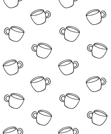 Vector seamless pattern of hand drawn doodle sketch coffee cup isolated on white background Иллюстрация