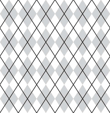 Vector seamless pattern of gray flat cartoon Plaid check isolated on white background Иллюстрация