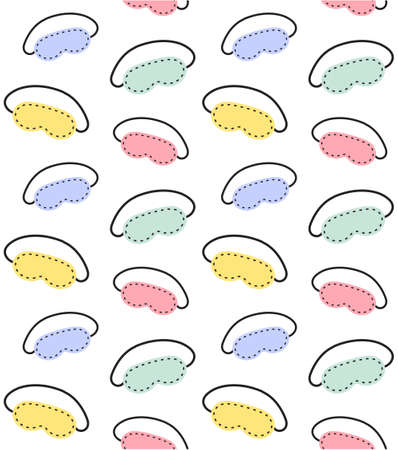 Vector seamless pattern of different color hand drawn doodle sketch sleeping mask isolated on white background