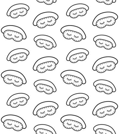 Vector seamless pattern of hand drawn doodle sketch sleeping mask with closed eyes isolated on white background