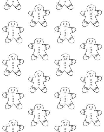Vector seamless pattern of hand drawn doodle sketch ginger cookie isolated on white background Иллюстрация