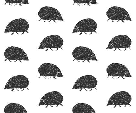 Vector seamless pattern of black hand drawn doodle sketch hedgehog isolated on white background
