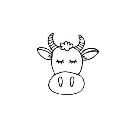 Vector hand drawn doodle sketch cow face isolated on white background Иллюстрация