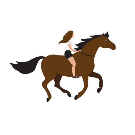 Vector flat cartoon girl woman riding free horse isolated on white background