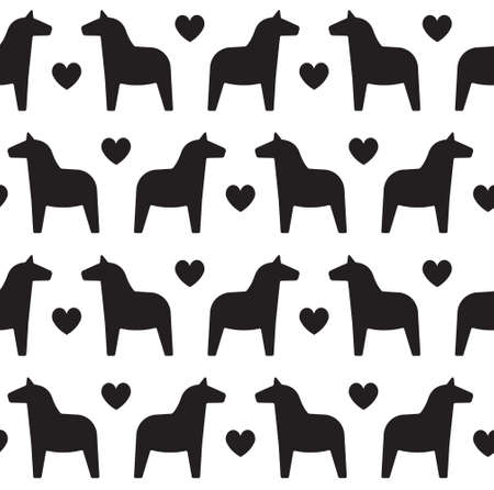 Vector seamless pattern of black flat Swedish dala horse silhouette isolated on white background Иллюстрация