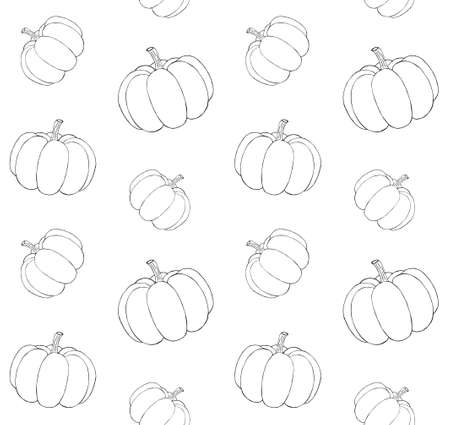 Vector seamless pattern of hand drawn doodle sketch pumpkin isolated on white background