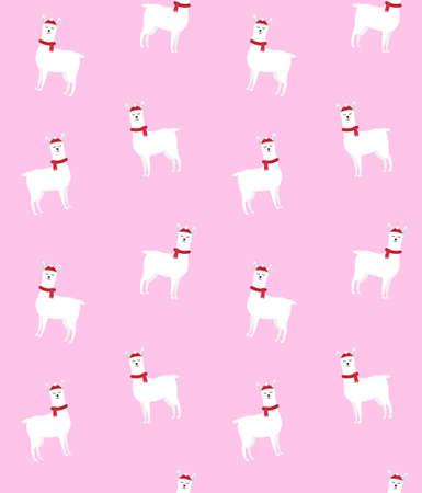 Vector seamless pattern of flat cartoon llama in winter hat and scarf isolated on pink background Иллюстрация