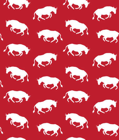 Vector seamless pattern of white hand drawn running bull silhouette isolated on red background