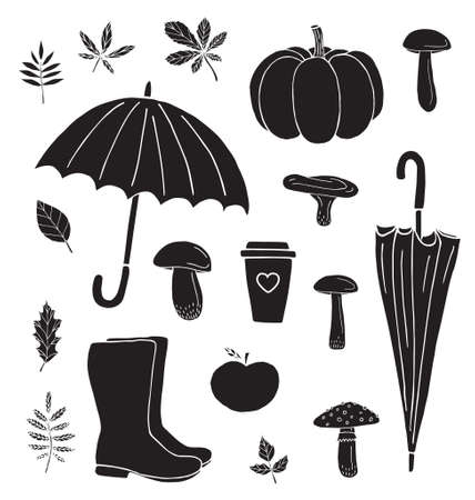 Vector set bundle of black hand drawn doodle sketch autumn elements isolated on white background