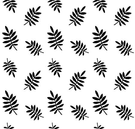 Vector seamless pattern of hand drawn rowan leaf silhouette isolated on white background