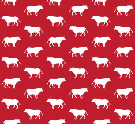 Vector seamless pattern of white hand drawn standing bull silhouette isolated on red background