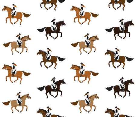 Vector seamless pattern of different flat cartoon girl woman riding a galloping chestnut brown horse isolated on white background