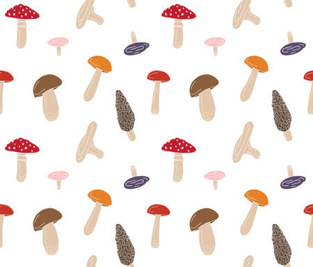 Vector seamless pattern of colored hand drawn doodle sketch mushroom isolated on white background