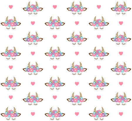 Vector seamless pattern of flat cartoon colored cow face head and hearts isolated on white background