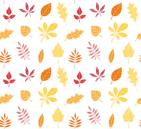 Vector seamless pattern of colored hand drawn doodle sketch leaves isolated on white background Иллюстрация