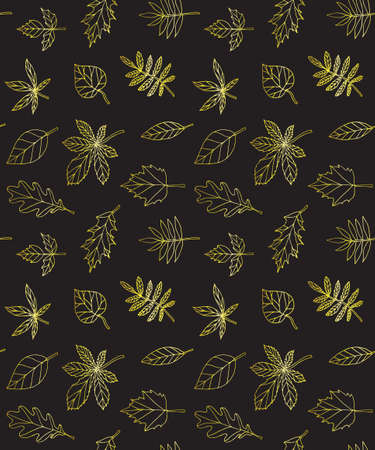 Vector seamless pattern of golden hand drawn doodle sketch leaves isolated on black background Фото со стока - 159224351