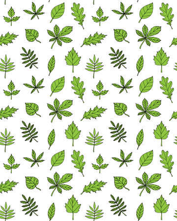 Vector seamless pattern of green hand drawn doodle sketch leaves isolated on white background