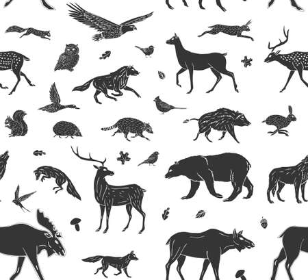 Vector seamless pattern of black hand drawn doodle sketch wild forest animals isolated on white background