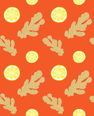 Vector seamless pattern of hand drawn doodle sketch ginger and lemon isolated on orange background Иллюстрация