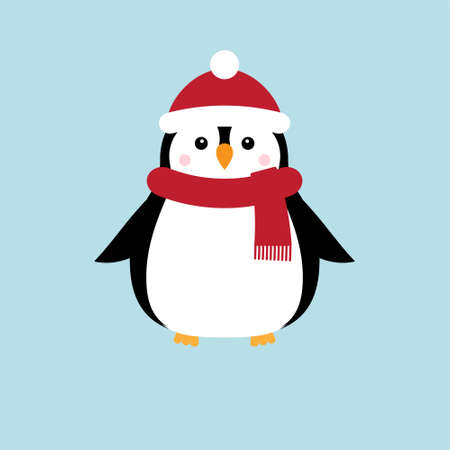 Vector flat cartoon penguin in hat and scarf isolated on blue background