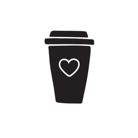 Vector hand drawn doodle sketch coffee take away cup isolated on white background Иллюстрация