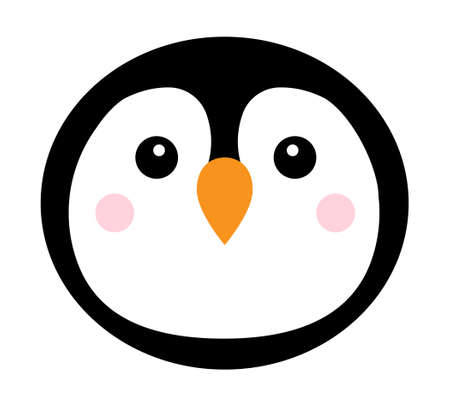 Vector flat cartoon round penguin face isolated on white background