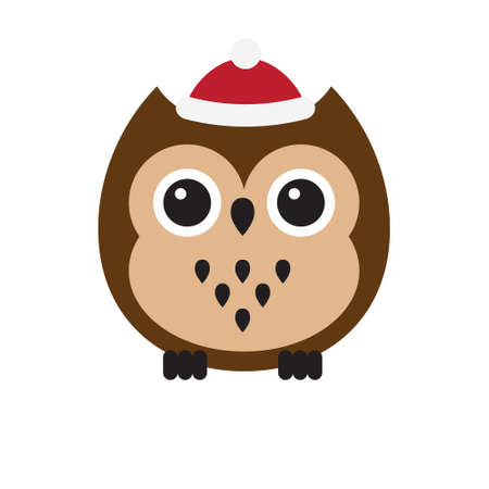 Vector flat cartoon colored owl in winter hat isolated on white background