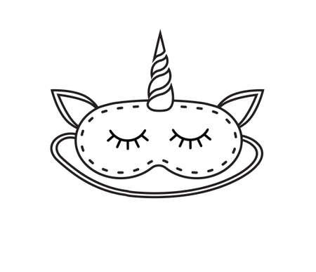 Vector flat cartoon unicorn sleeping mask isolated on white background Иллюстрация