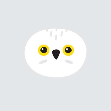 Vector flat cartoon hand drawn polar white owl face isolated on gray background