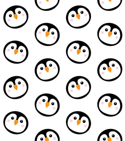 Vector seamless pattern of flat cartoon round penguin face isolated on white background