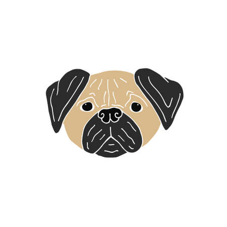 Vector colored hand drawn doodle sketch pug dog face isolated on white background Иллюстрация