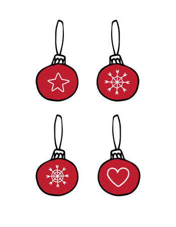 Vector set bundle of hand drawn doodle sketch colored Christmas new year tree decoration balls isolated on white background