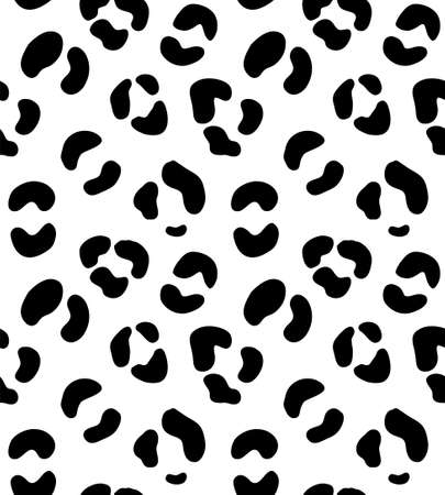 Vector seamless pattern of leopard spots fur print isolated on white background Иллюстрация
