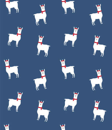 Vector seamless pattern of flat cartoon llama in winter hat and scarf isolated on blue background