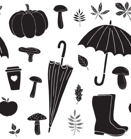 Vector seamless pattern of black hand drawn doodle sketch autumn elements isolated on white background