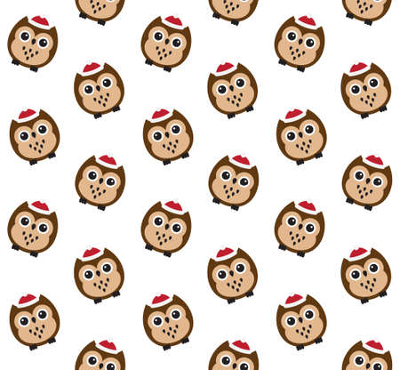 Vector seamless pattern of flat cartoon colored owl in winter hat isolated on white background