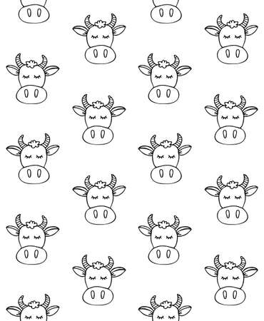 Vector seamless pattern of hand drawn doodle sketch cow face isolated on white background