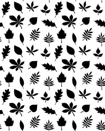 Vector seamless pattern of hand drawn leaves silhouette isolated on white background Иллюстрация